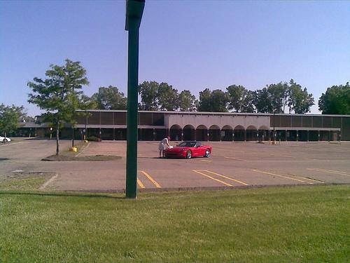 A Labor of Love: Man Polishing Corvette, Auburn Hills, MI, near Pontiac, MI, June 2009